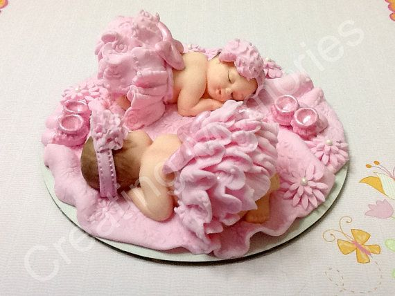 Twin Baby Girls In Pink - Edible CakeTopper Ready for Your Decoration Needs - BABY SHOWER, Birthday Celebration-Two Babies Boy or Girl