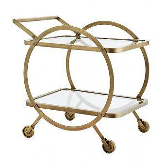 Madam Stoltz Trolley rond brass - helder glas - deens.nl 345,00
