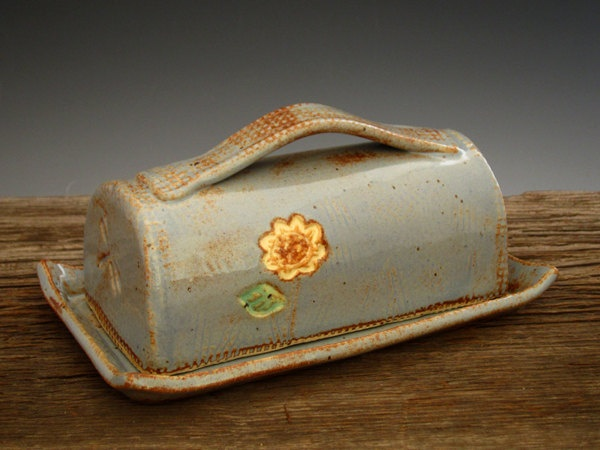 Pottery Butter Dish in Country Blue - SunFlower - Covered Butter Dish - Rustic Pottery - Fall Flower - by DirtKicker Pottery. $50.00, via Etsy.