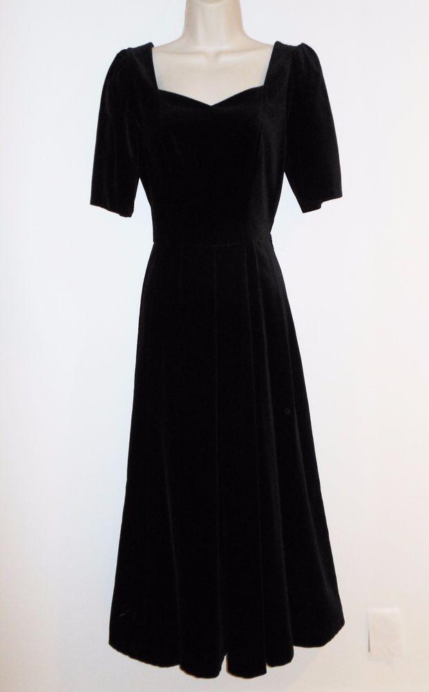 Vtg Laura Ashley S Black Velvet Dress Tag 8 UK 12 Long Victorian Evening Party  #LauraAshley #TeaDressEveningDress #Formal