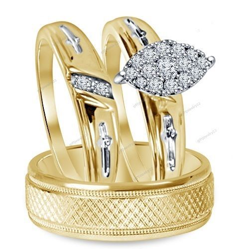 14k Yellow Gold Plated Marquise Shape Women's  Wedding Engagement Trio Ring Set #giftjewelry22