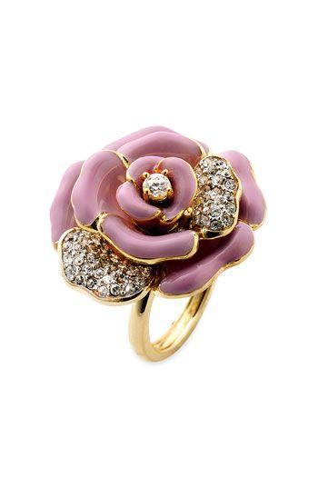 Pink Enamel Chanel Rose and Diamond Ring