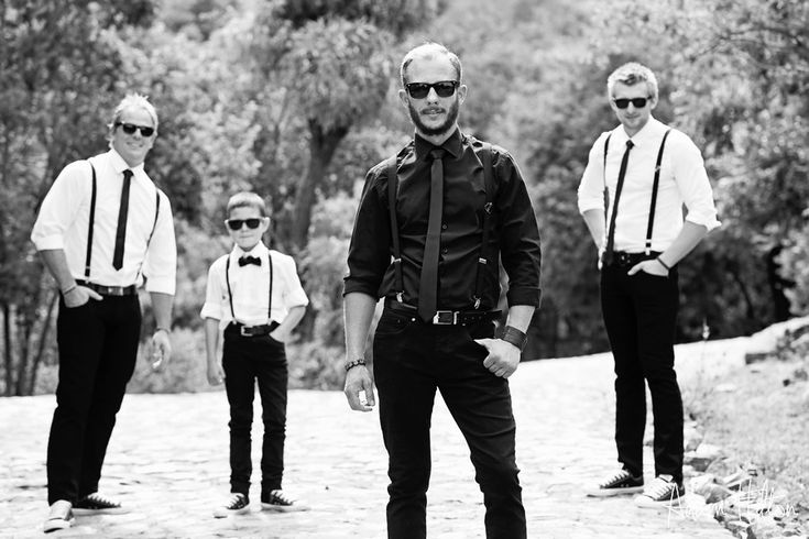 Red ivory lodge - Relene and Conradt....husband and his groomsmen. Punk rock wedding
