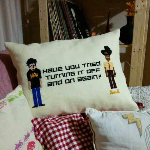 Handmade It Crowd cross stitch pillow.