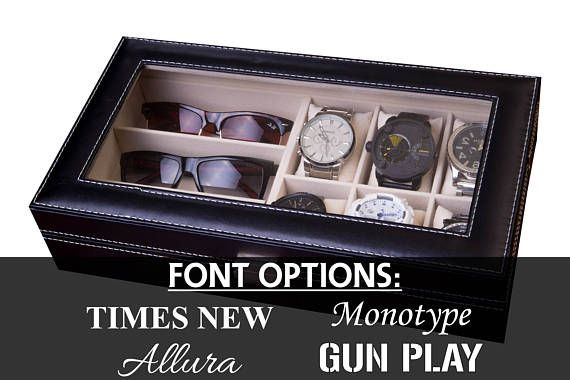 **Sold as a Craft Supply at Wholesale Prices!**  The perfect watch & eyeglasses combo box organizer to hold up to 6 timepieces and 3 glasses. Glass top to easily display your collection. Comes in the black leatherette with white stitching. WIDE slots to accommodate LARGE face watches! Plush