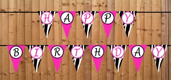 Zebra Print Happy Banner Hot Pink - Buy 2 Get 1 FREE - DIY PRINTABLE File Personalized Party Decorations