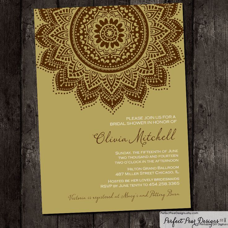 indian wedding invitation mumbai%0A Bridal Shower Invitation  Inspired by traditional Indian saris henna  moroccan elegant formal ethnic  brown