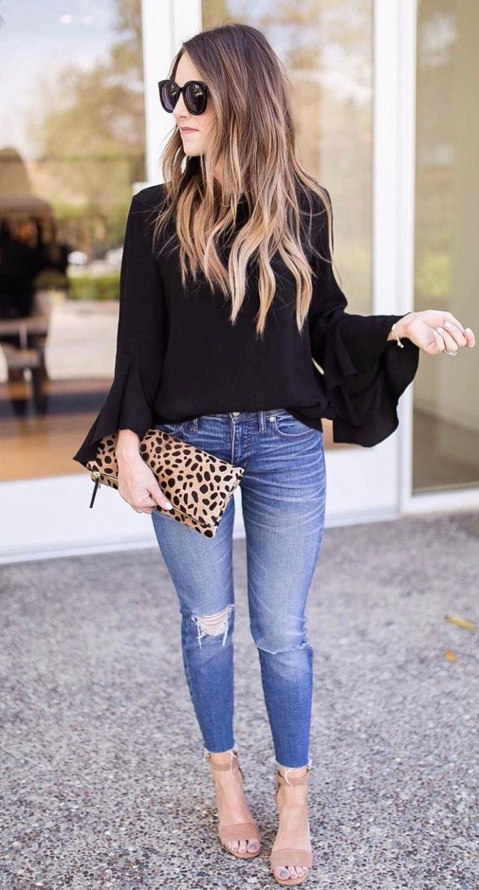 casual style inspiration black blouse + rips