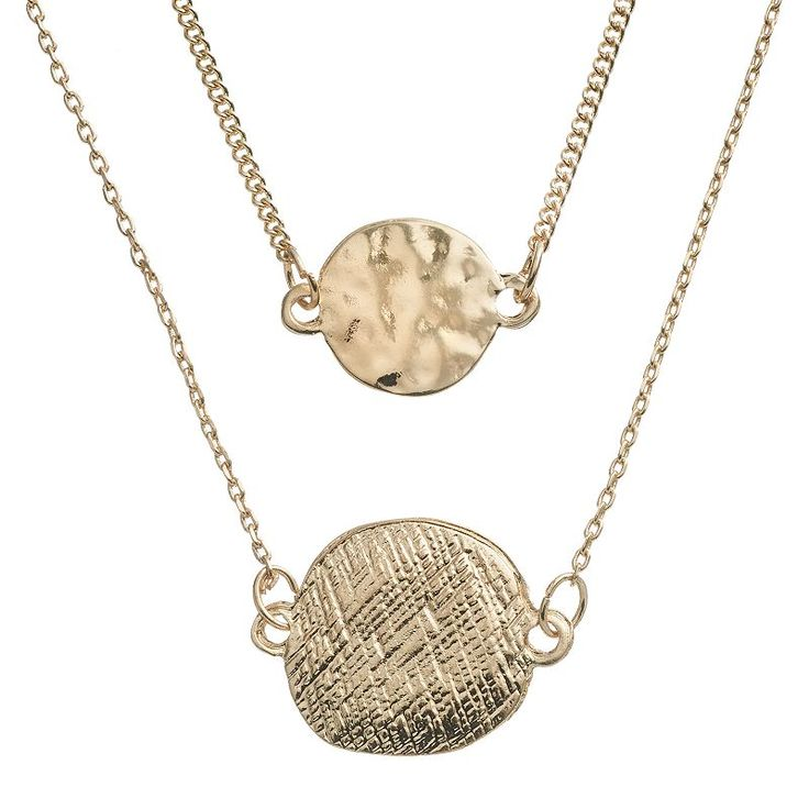 LC Lauren Conrad Textured Disc Multistrand Necklace, Women's, Gold