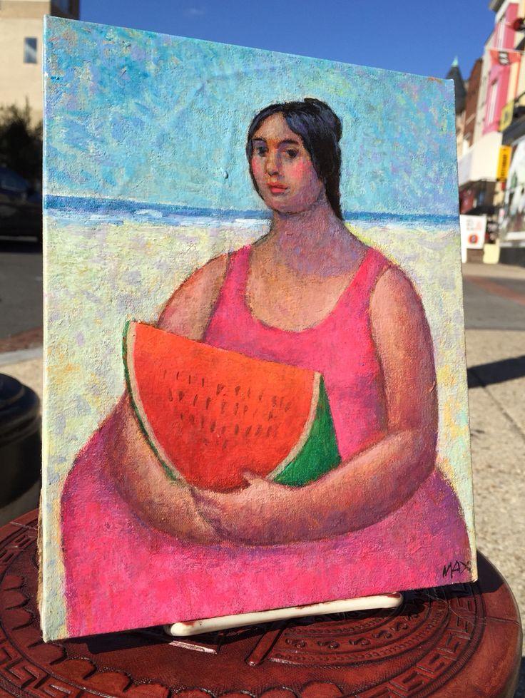 """""""El Mar y la Sandia"""" - Oil on Canvas - 8x10"""" - by Mauro Maximiliano - $145"""