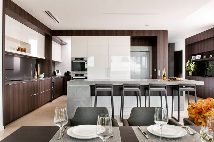 Architecture: Black Dining Table With Cutlery Set Kitchen Cabinet And Bar Stools White Ceiling And White Tile Floor Timeless Kitchen Design: Family House - Timeless Luxury House Gathering Waterside Panoramas