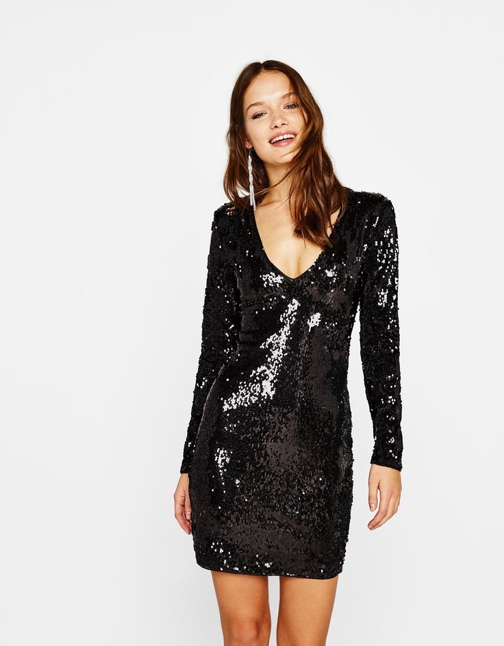 Sequinned dress. Discover this and many more items in Bershka with new products every week