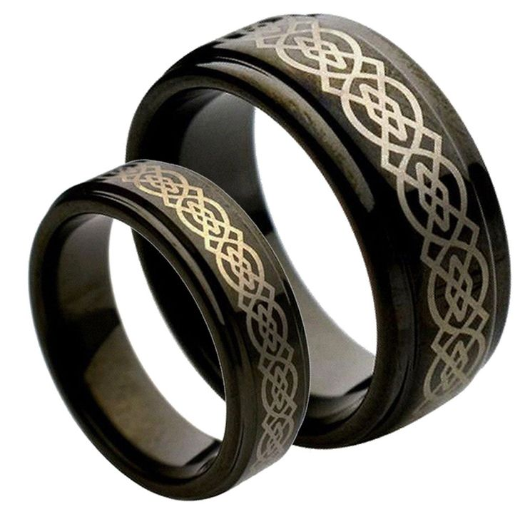 His & Her's 9MM/7MM Tungsten Carbide Step Edge Black Enamel Celtic Knot design Center Wedding Band Ring Set