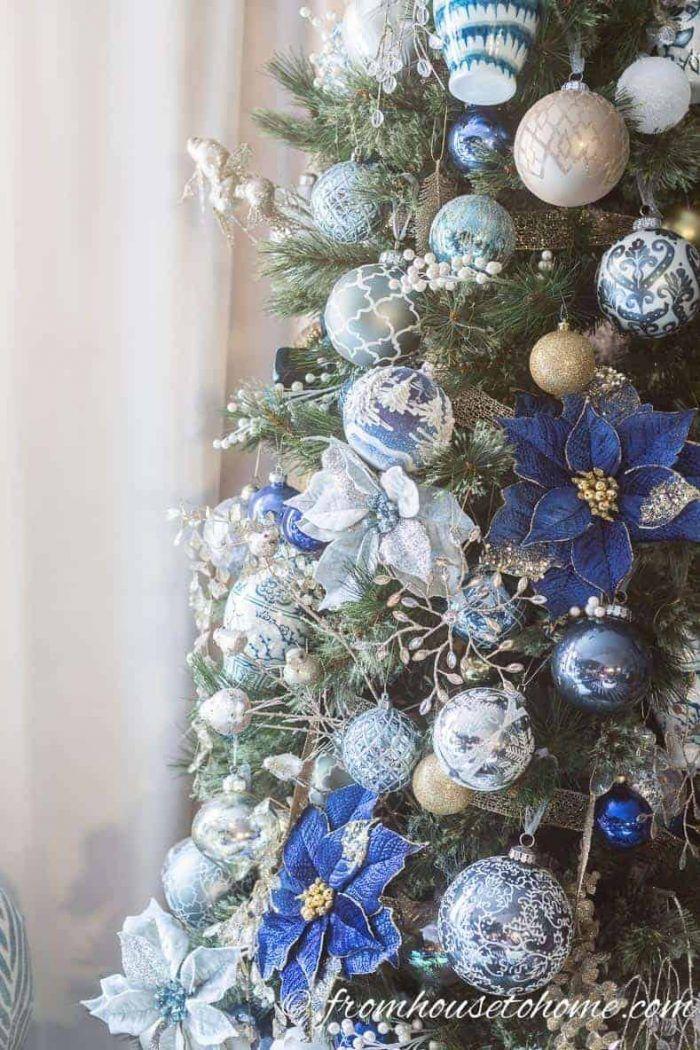 Blue And White Christmas Tree Decor Plus 40 Bloggers Christmas Trees Blue Christmas Tree Outdoor Christmas Decorations Christmas Tree Decorations