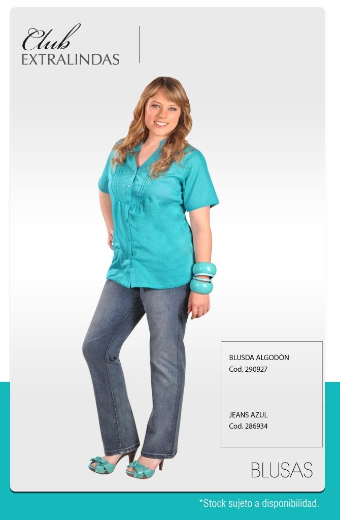 Blusa Algodón $ 14.990 / Jeans Azul $ 21.990