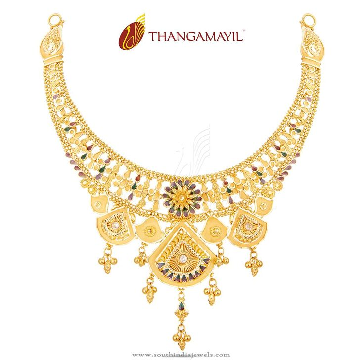Gold Enamel Necklace from Thangamayil Jewellery | South india ...
