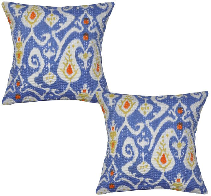 Indian Decor Cushion Covers Cotton Block Printed Pillow Cover Pair 40cm Throw