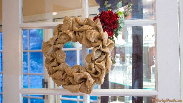 Learn how to make a burlap wreath with our quick instructional tutorial. No glue necessary.