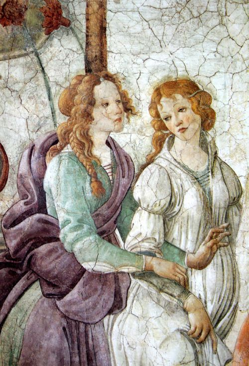 Venus and the Graces Offering Gifts to a Young Girl, Botticelli (Detail)