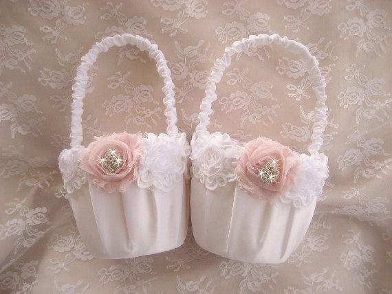 Two Flower Girl Baskets Shabby Chic Vintage Custom Colors Wedding Basket White or Ivory on Etsy, $55.00