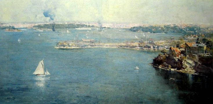 """Arthur Streeton - """"Sydney Harbour, Across Cremorne"""". Oil on canvas, signed and dated 'Arthur Streeton 1907' lower left and further signed and inscribed 'Murcott/Mosman Street/Mosman' on the reverse, 61.3 x 1"""