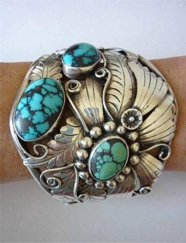 "Vintage Navajo Turquoise Sterling Silver Applique 2 1/2"" Wide Cuff Bracelet"