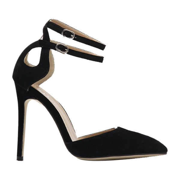 Double Buckle Strap Two Piece Pumps Black ($38) ❤ liked on Polyvore featuring shoes, pumps, black shoes, black court shoes, kohl shoes and black pumps