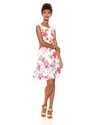 29f64953564 Le Mou Women s Sleeveless White Floral Fit and Flare Midi Feminine Dress - Midi  Length Dress Deals   Offers