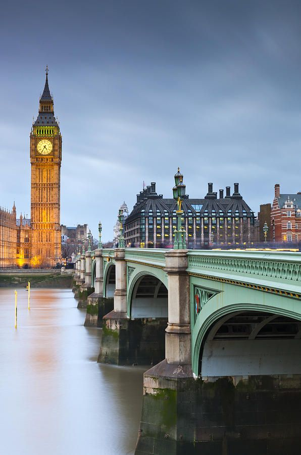 Houses of Parliament and Westminster Bridge spanning the River Thames, London, England