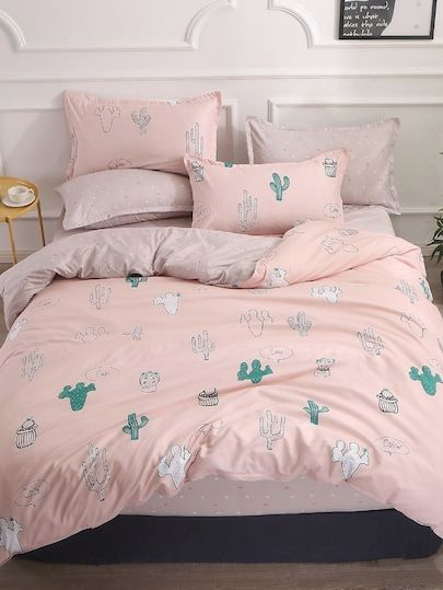 b28c16b585 Shop Cactus Print Sheet Set online. SheIn offers Cactus Print Sheet Set &  more to fit your fashionable needs.
