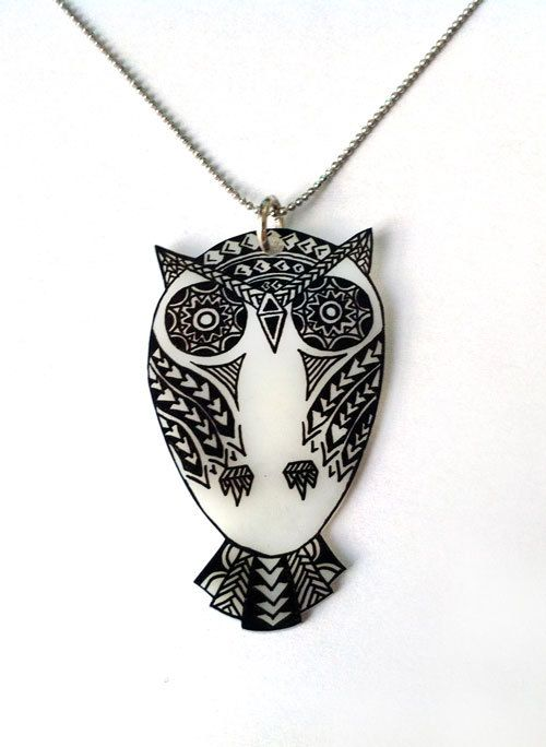 shrink plastic jewelry ideas | ... Owl Pendant Necklace, Shrink Plastic Jewelry --- Gift box included