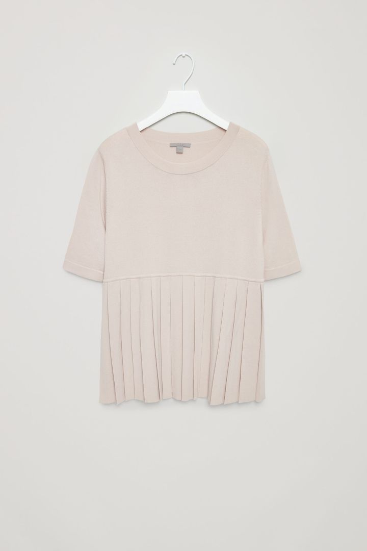 COS image 4 of Top with pleated hem in Sand