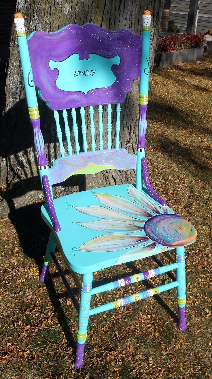 Funky painted furniture ideas - Turquoise Hand Painted Chair By Carolyn S Funky Furniture
