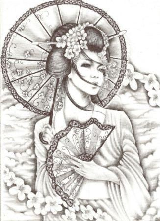 Fantastic Geisha Tattoo Design                                                                                                                                                                                 Más