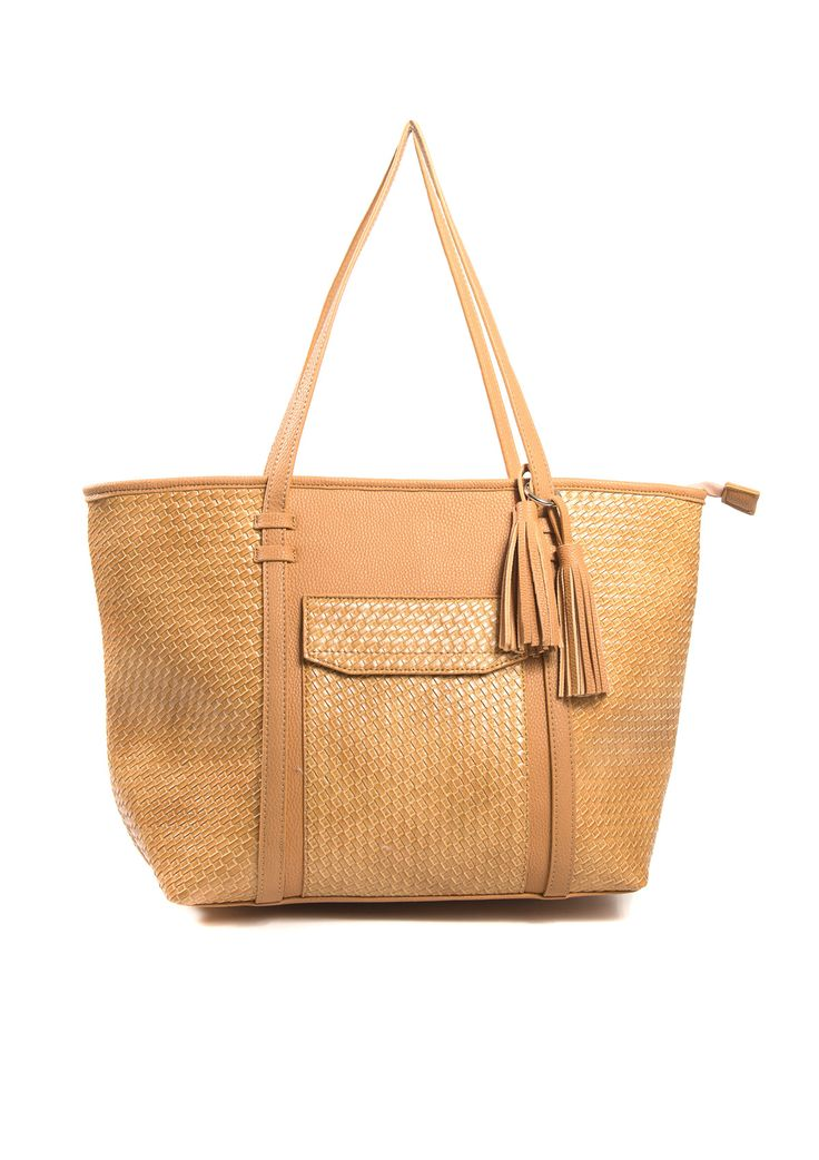 Tote leather bag with tassel decor in camel.
