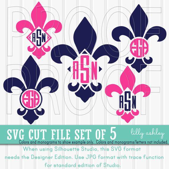 monogram svg files set of 5 fleur