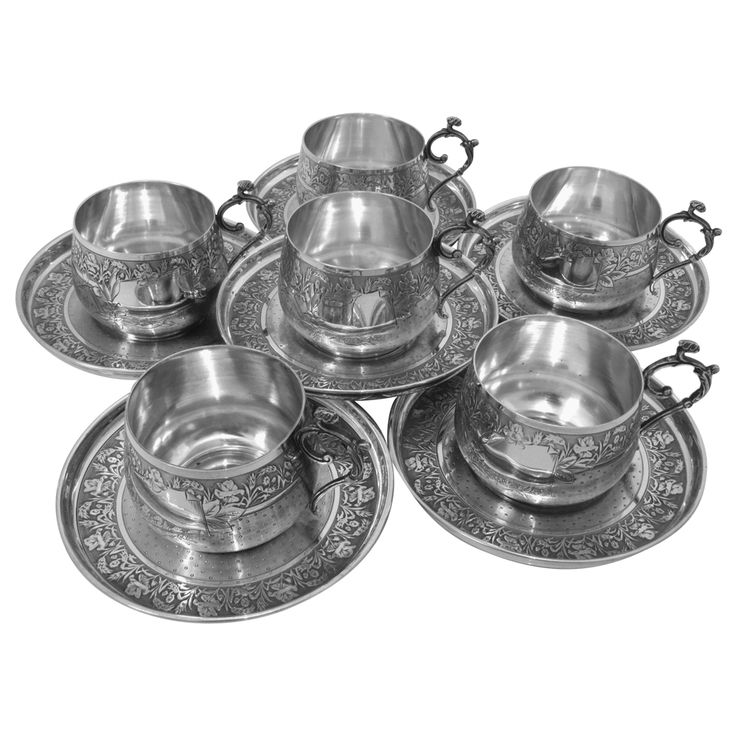 Compere Ornate French Sterling Silver Six Coffee Tea Cups with Saucers | From a unique collection of vintage coffee and tea sets at https://www.1stdibs.com/jewelry/silver-flatware-silverplate/coffee-tea-sets/