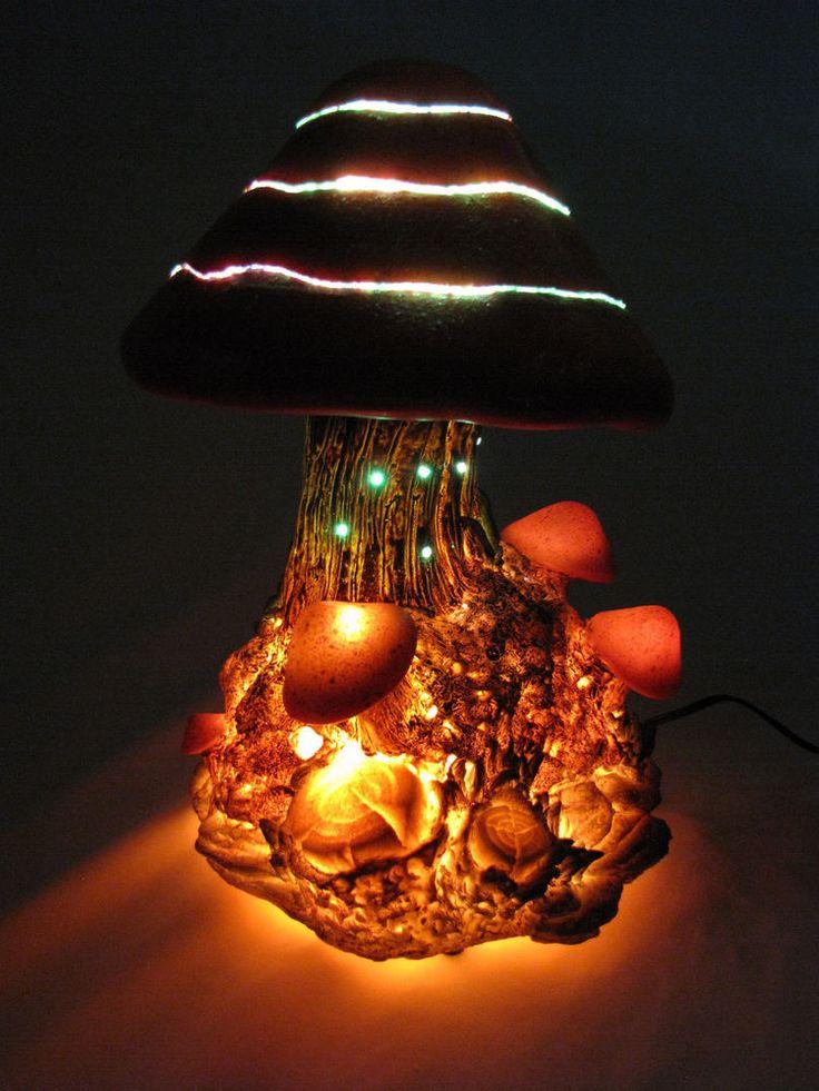 Mushroom Lamp Fiber Optic Table Top Amber Glow Sparkling