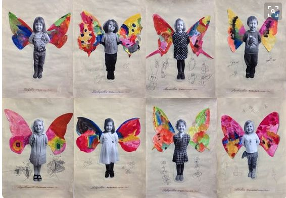 Kids photo with painted wings