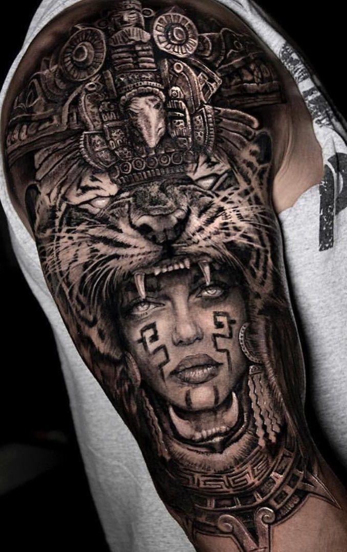 Aztec Tattoo Designs Sleeve Sleeve Tattoos En 2020 Tatuajes Mayas Disenos De Tatuajes Azteca Tatuajes De Guerreros Aztecas