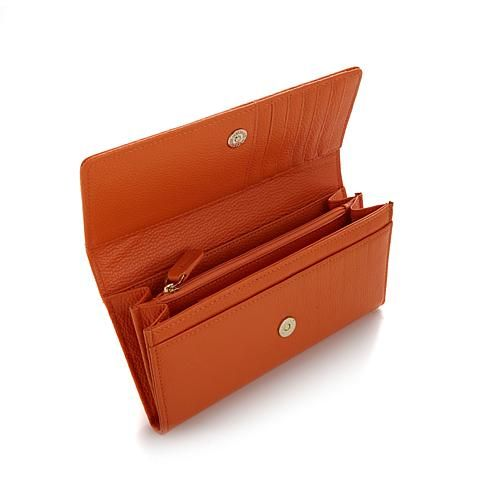 Samantha Brown Leather RFID Clutch Wallet with Credit Card Insert - Metallic