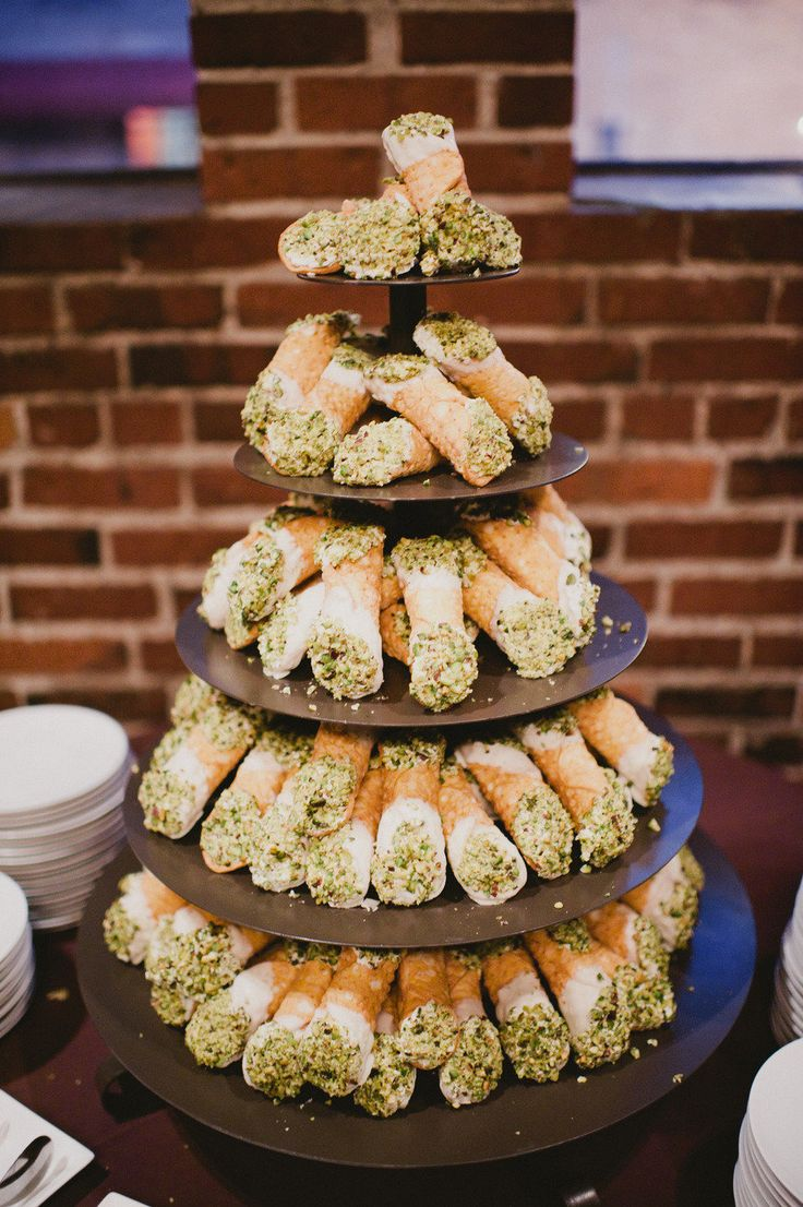 Cannoli Tower instead of cake! Photography by ryanpflynn.com, Photography by kyliewrites.com, Day-Of Coordination by clutchevents.com