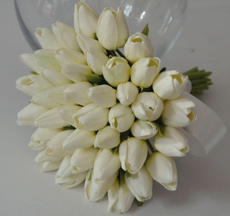 SILK WEDDING BOUQUET LATEX WHITE TULIP TULIPS POSY BOUQUETS FLOWERS FAKE FLOWER