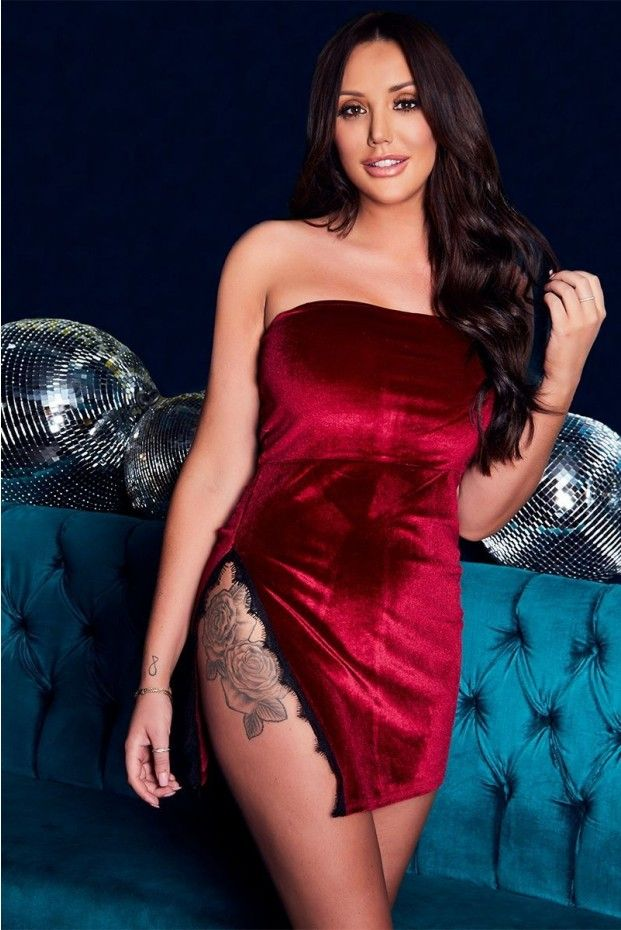 CHARLOTTE CROSBY WINE VELVET LACE TRIM BANDEAU DRESS | In The Style