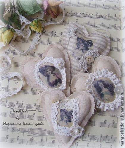 Винтажные сердечки-Валентинки! - бежевый,сердце,винтажный стиль,старина