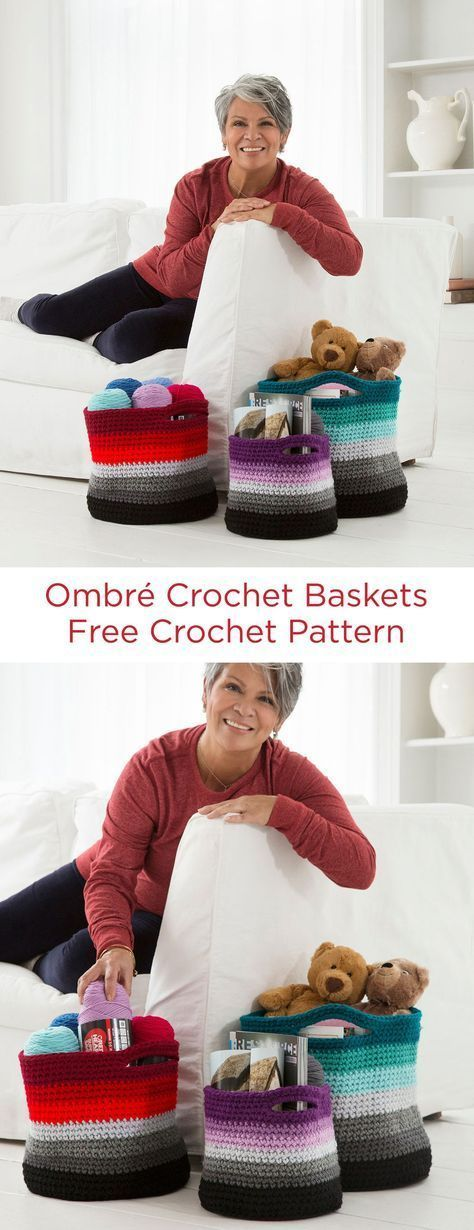 Ombré Crochet Baskets Free Crochet Pattern in Red Heart Super Saver yarn -- Organize your yarn or other clutter with these colorful crochet baskets. We've shown three sizes in three color combinations, but you can use any hues that are right for you!
