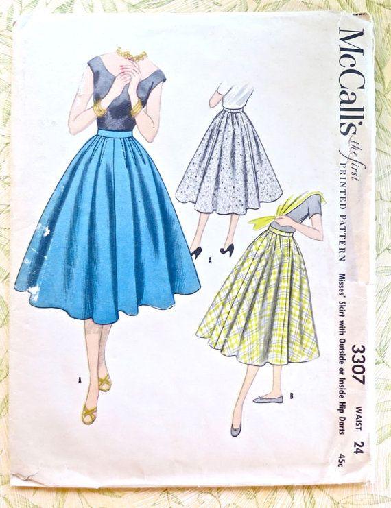 McCalls 3307  Vintage 1950s Womens Full Skirt Pattern by Fragolina