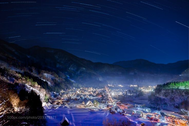 """Village illuminated at night by AOUEI from http://500px.com/photo/203376371 - The village (Shirakawa-go) registered as this World Heritage Site illuminates the whole village with lights at the end of the winter weekend. """"The  Most Beautiful and Breathtaking Places in Japan. """" A stunning view of Japan. """"Japan's most beautiful places. """"  Japan's most scenic spots. AOUEI PHOTOGRAPHY  この世界遺産に登録された村白川郷は冬の週末になると村全体をライトで照らし出します. More on dokonow.com."""