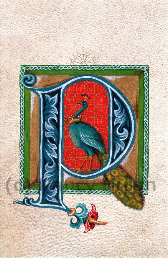 Middeleeuwse verlichte P, alfabet brief P, geschilderd eerste P, middeleeuwse alfabet, Childs naam