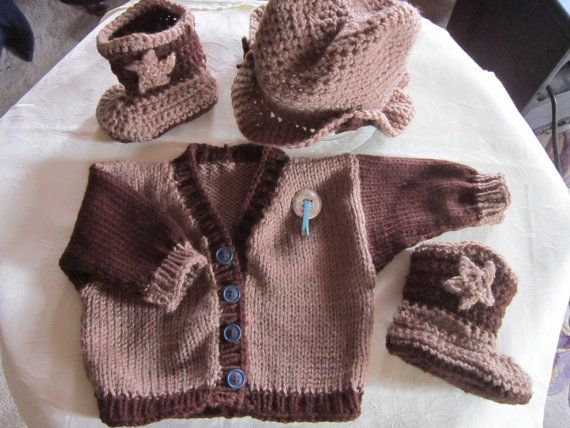 Knit and Crocet Baby Sweater Set Cowboy Hat by brightsistersquilts